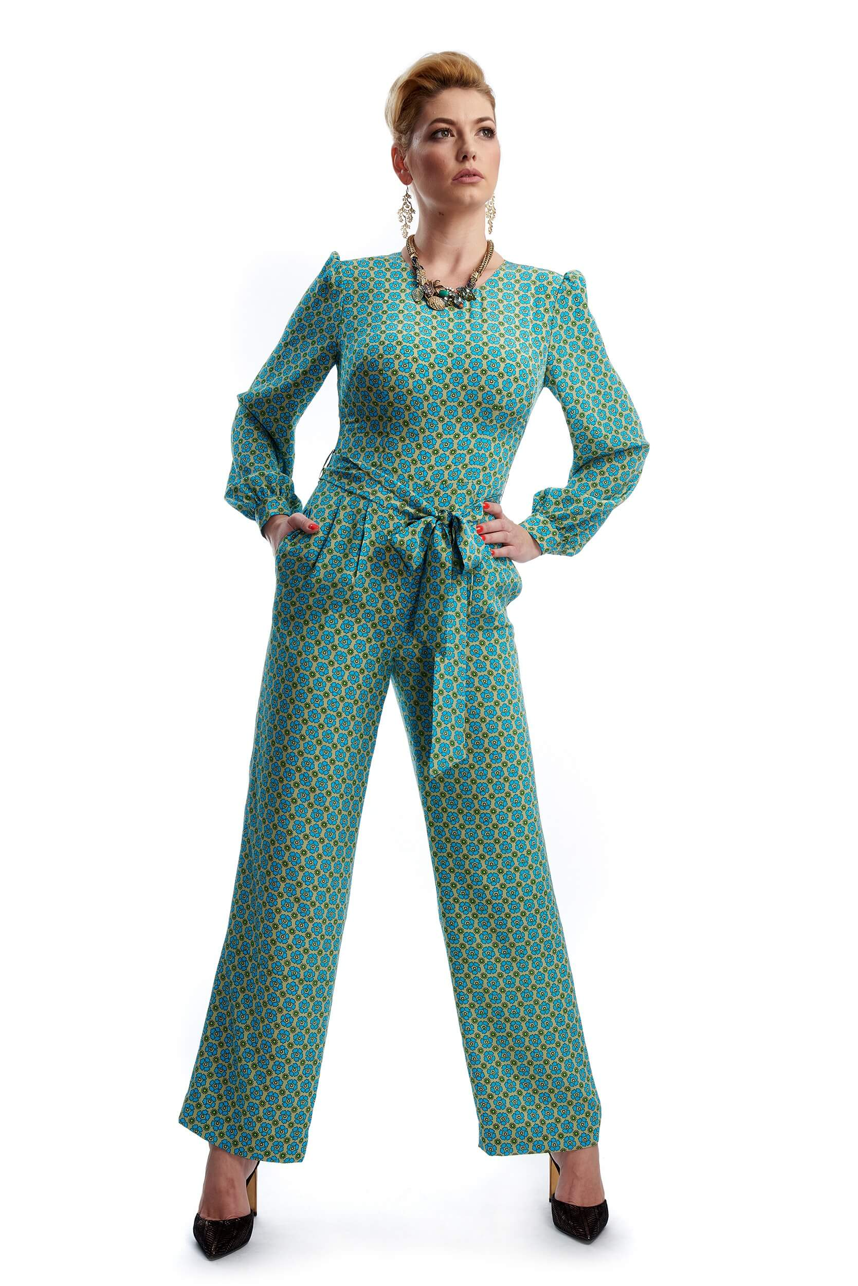 Woman wearing the Brigitte silk crepe jumpsuit with floral print
