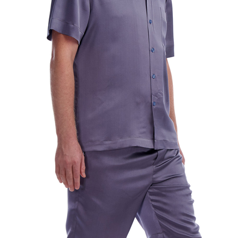 Man wearing the grey silk satin pajamas Alexandre