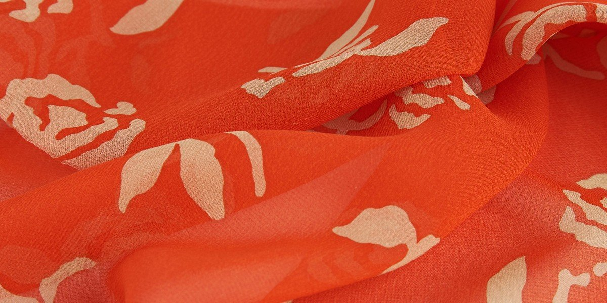 rose orange skin print silk chiffon fabric