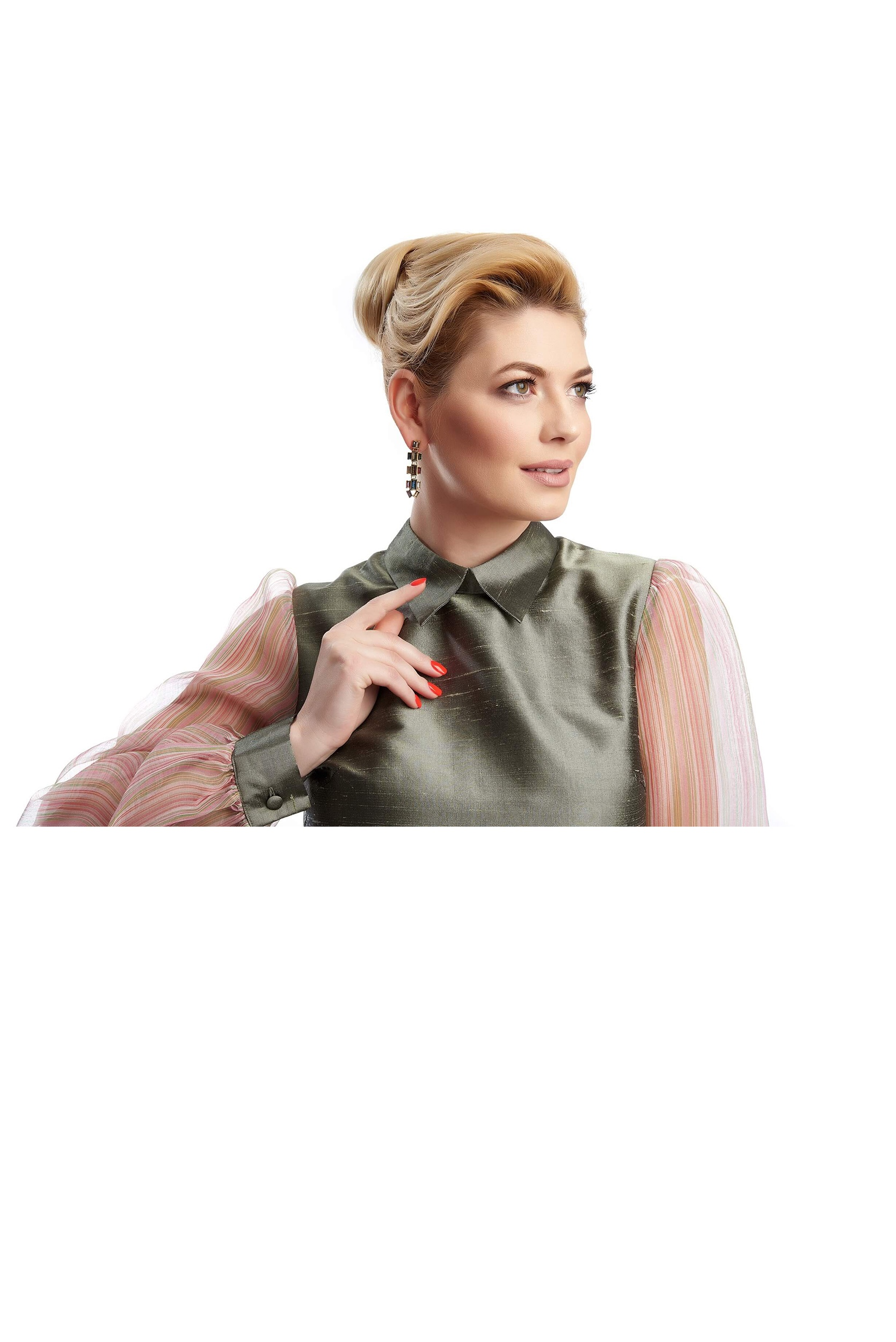 woman showing the pointed collar of the rose-claire silk taffeta mini dress