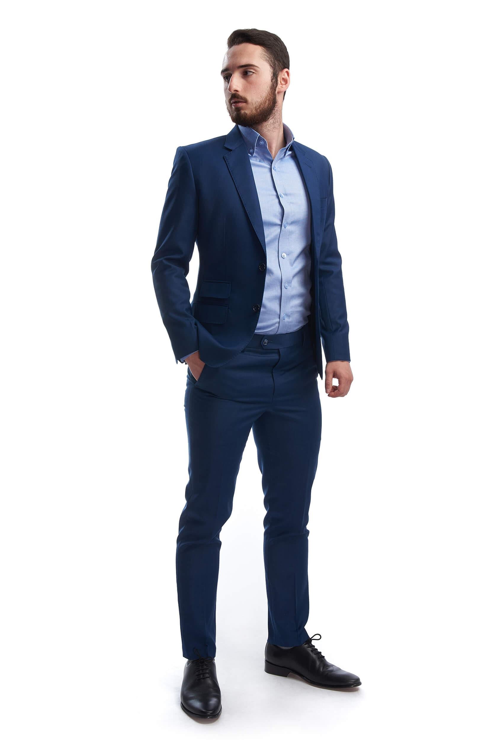 slim fit wool suit with ticket pocket louis