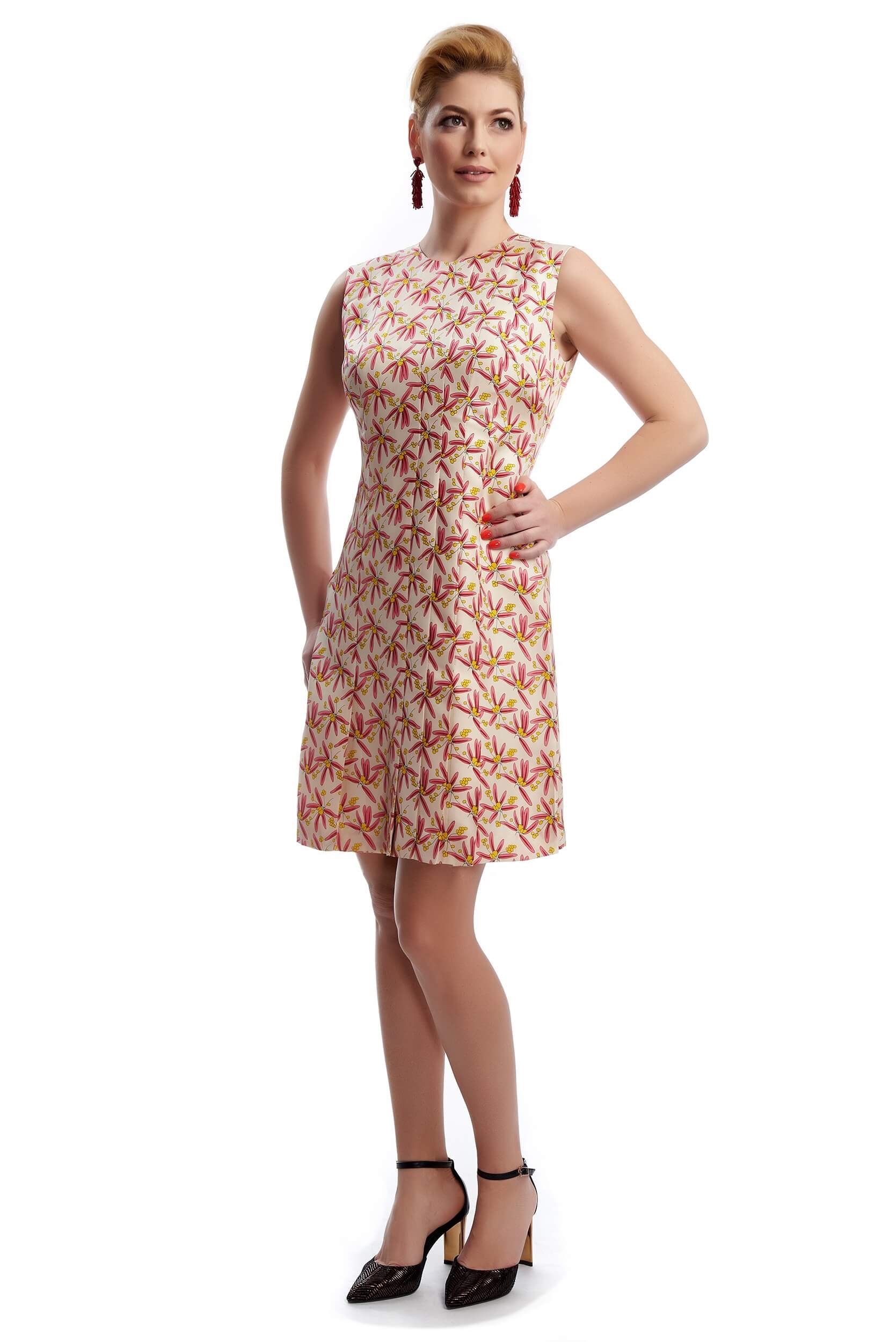 silk twill mini dress with floral print victoire
