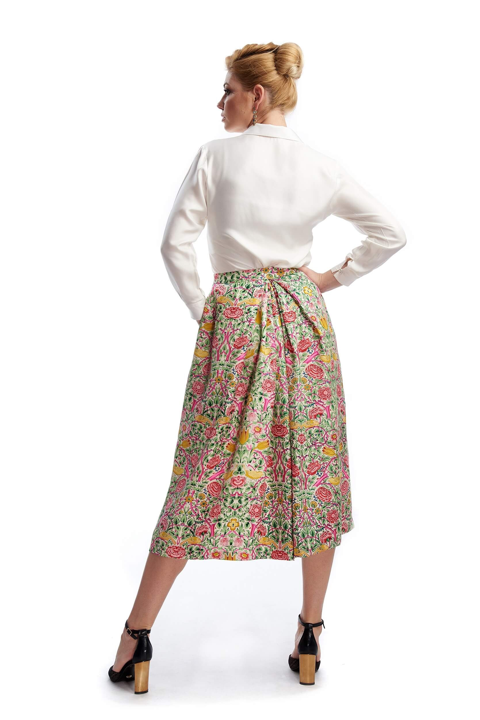 back of lucie long skirt cut from print silk twill