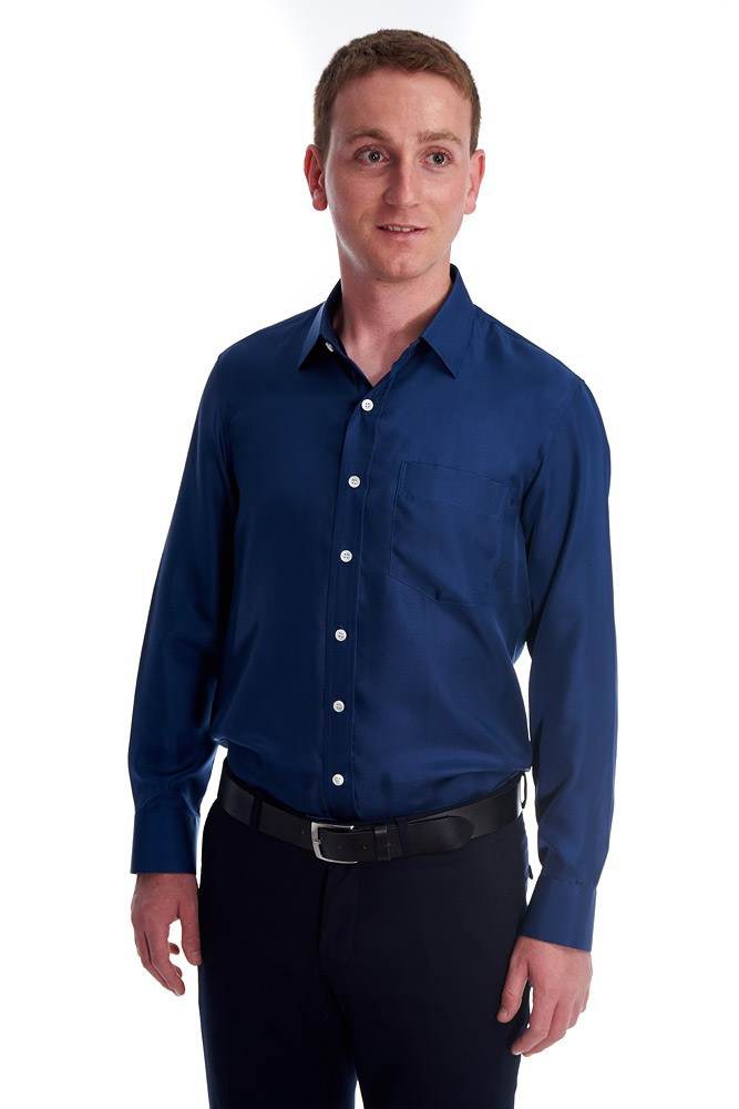 navy blue silk twill shirt with classic collar