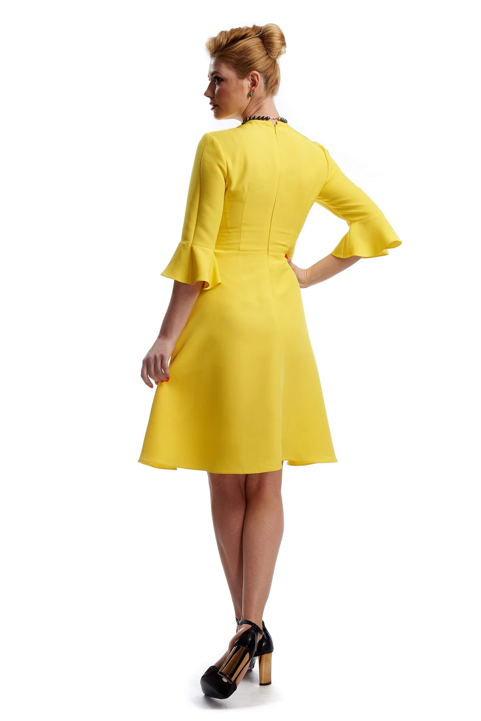 back of a yellow plain silk crepe dress