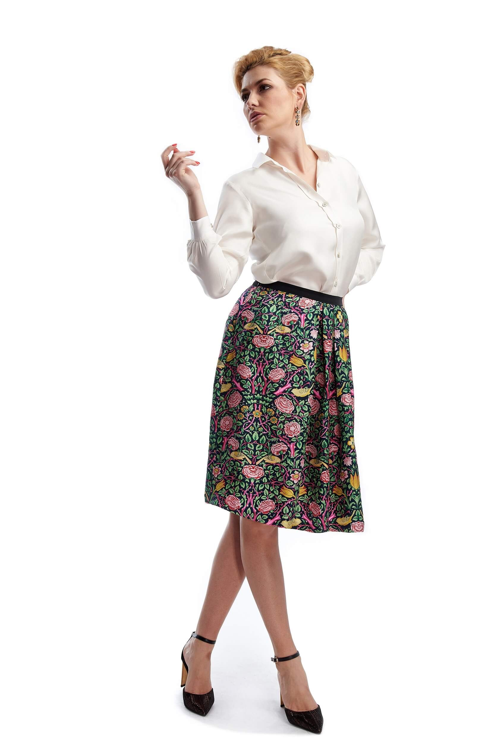 amélie pleated silk twill skirt with floral print