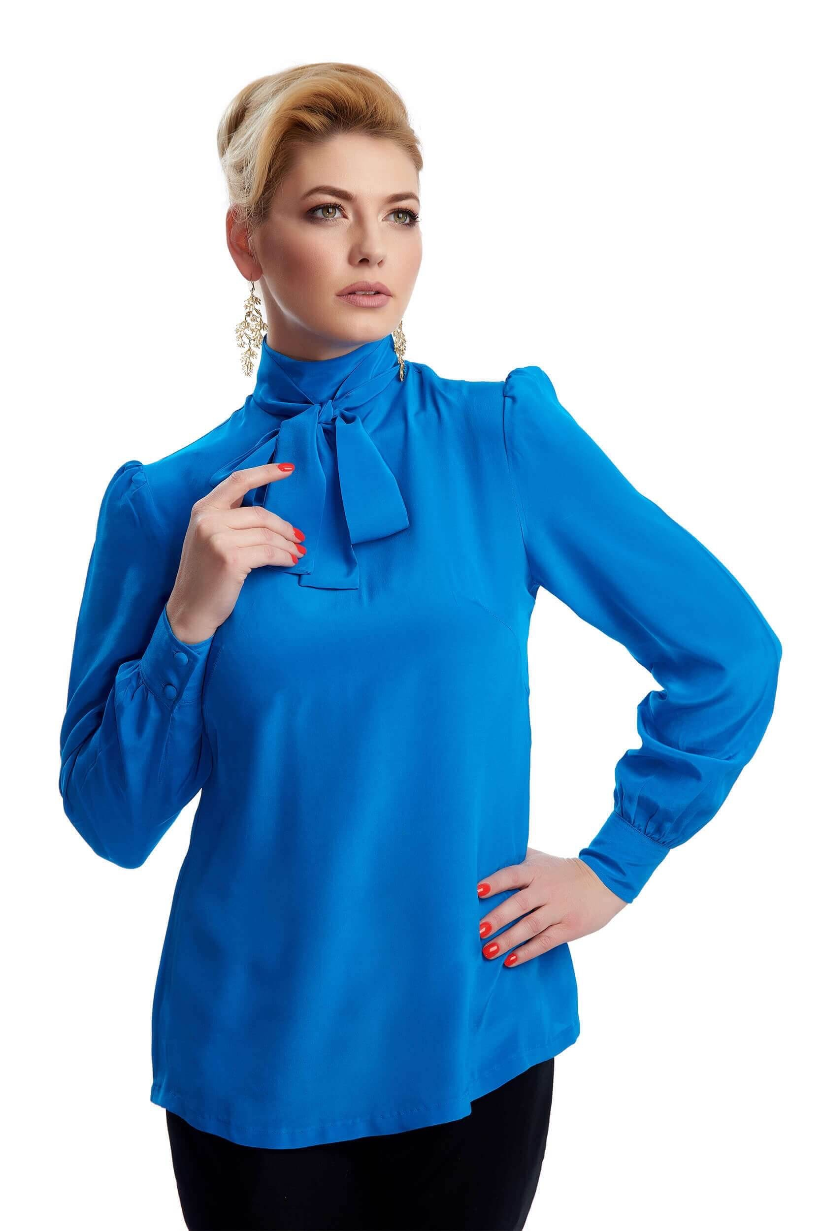 silk crepe blouse with removable lavalier knot