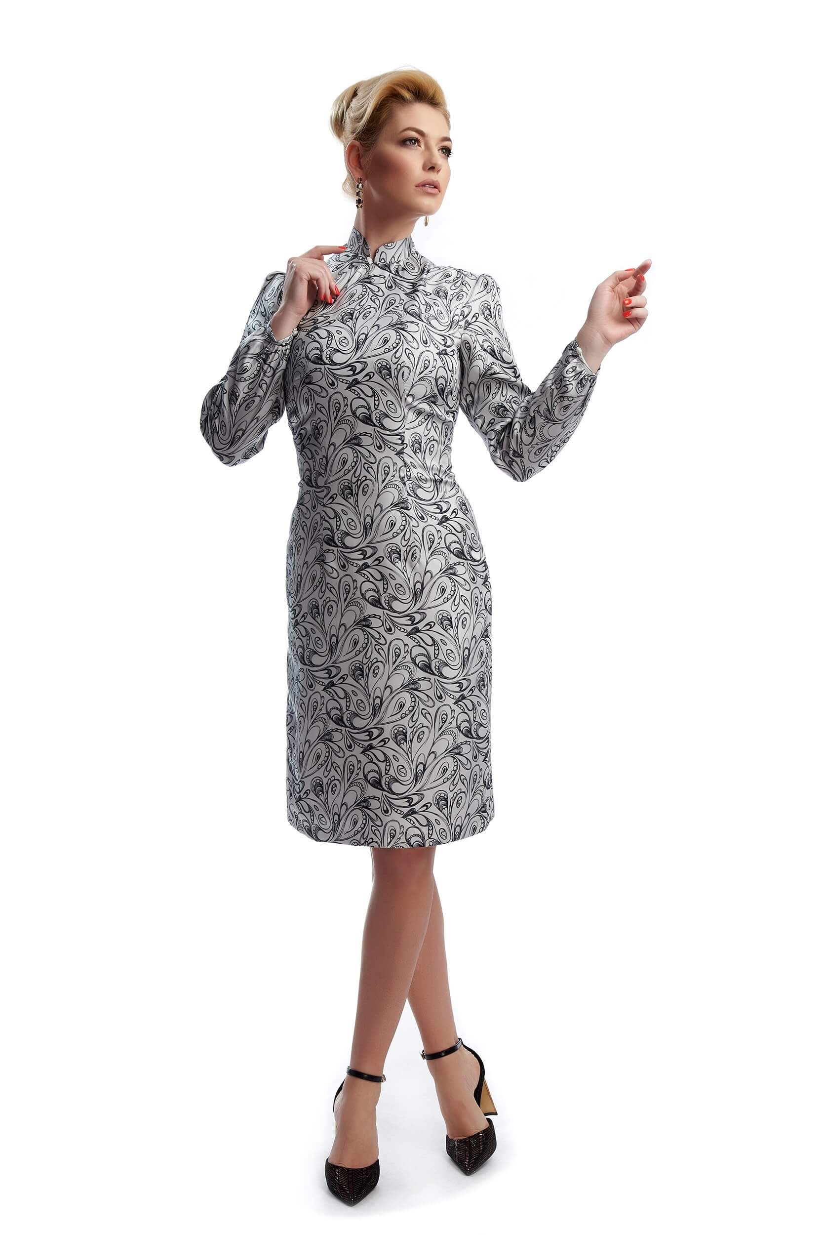 white grey paisley print silk twill midi dress isabelle