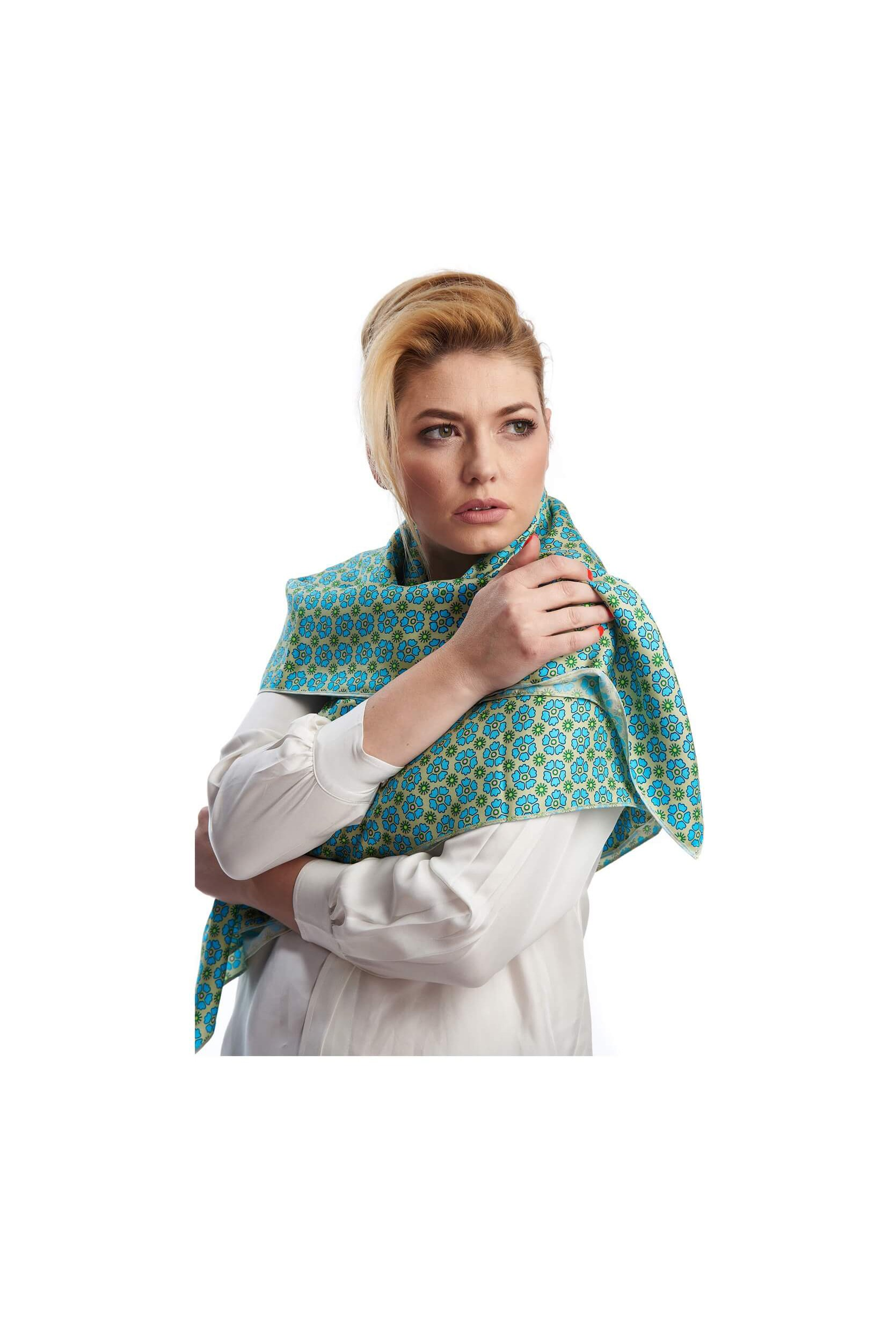 woman wrapping into the silk twill scarf