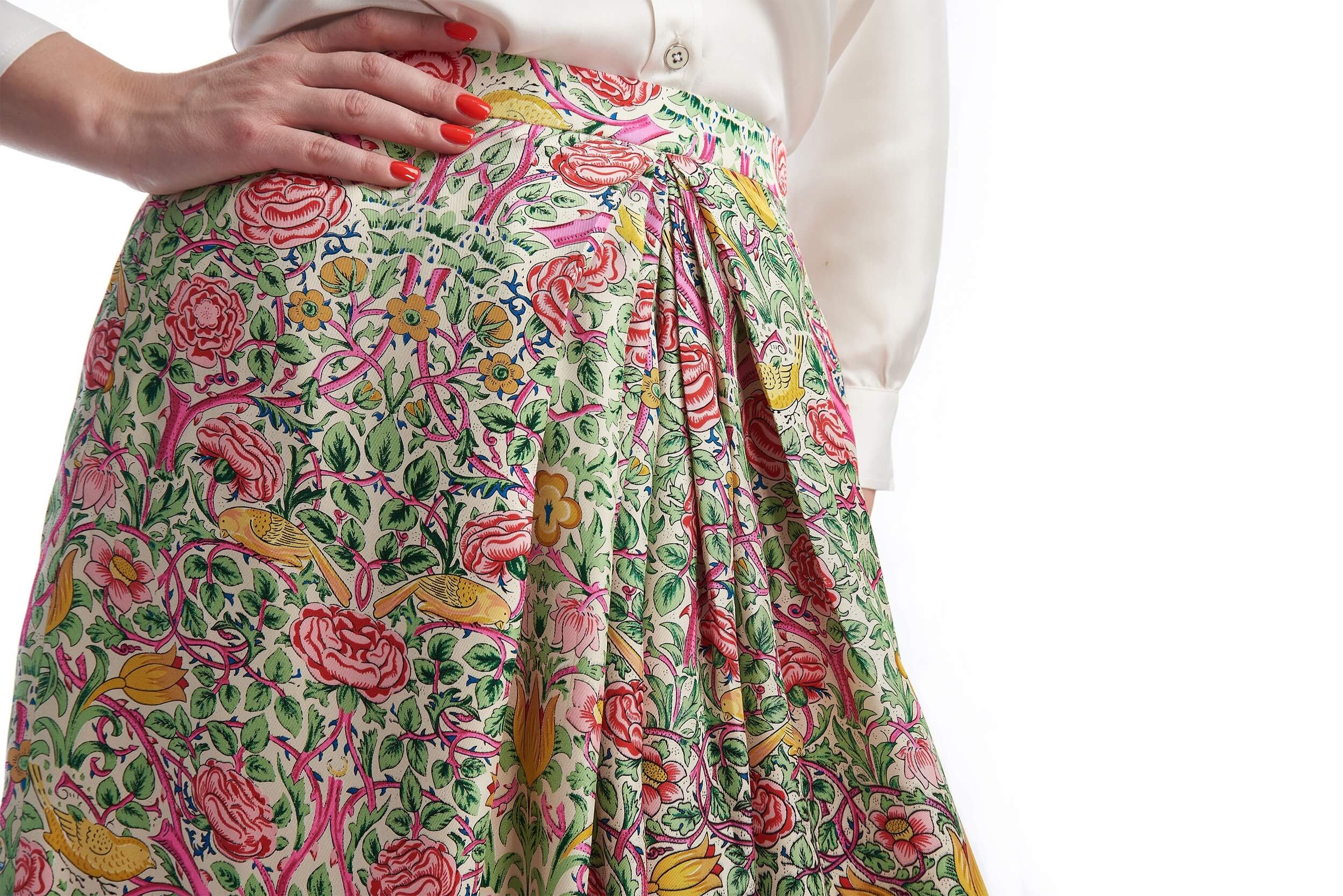 front pleats of lucie made-to-measure silk skirt