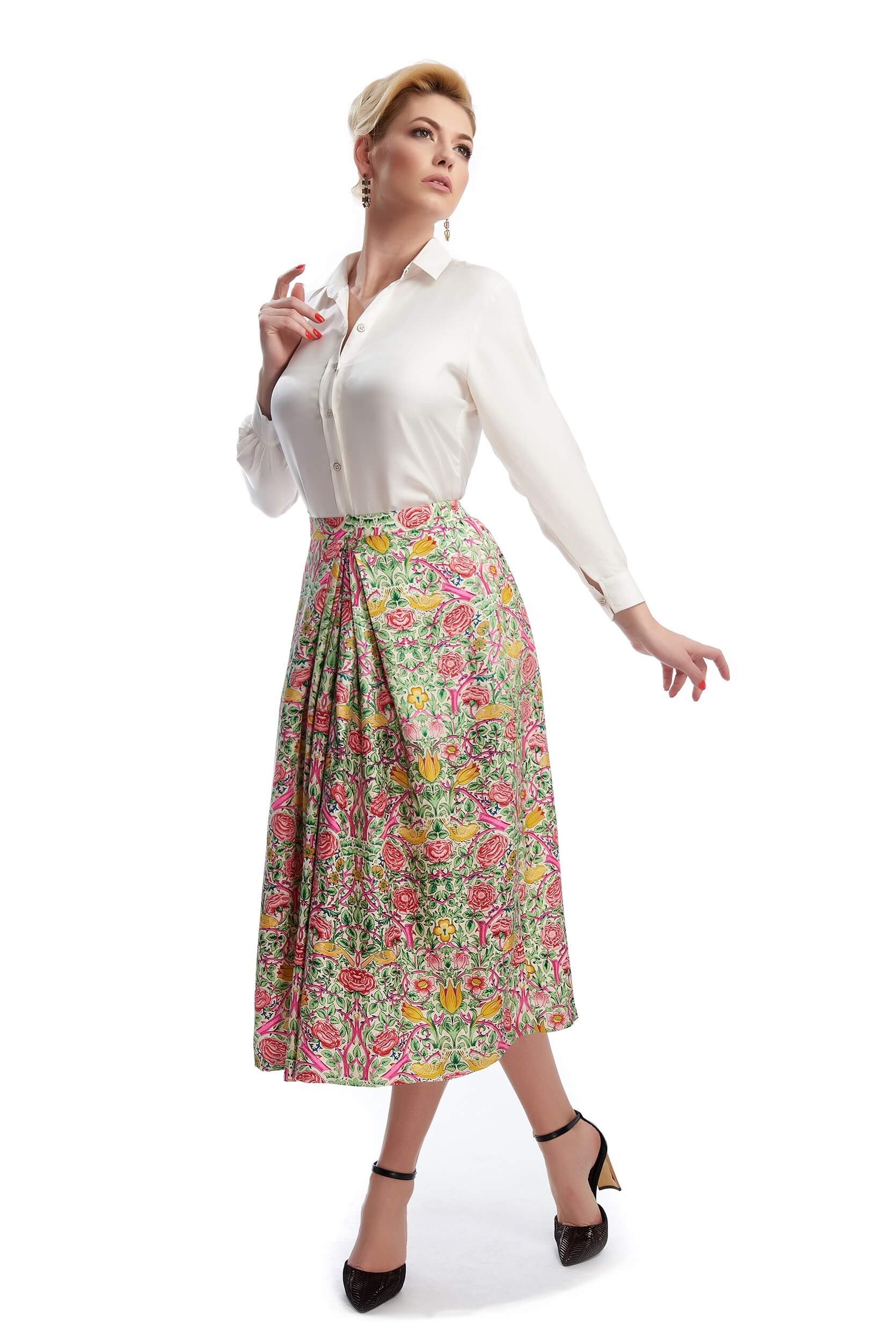 lucie long silk twill skirt with floral print